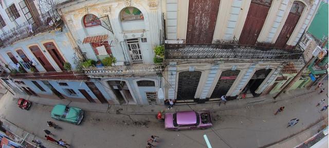 View of Suárez street from balcony at Casa Don Miguel, Old Havana, Havana, Cubauel, Habana Vieja, La Habana, Cuba